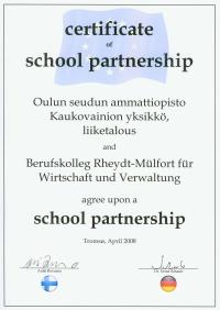 Zertifikat Schulpartnerschaft Finnland - Deutschland