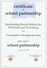 Zertifikat Schulpartnerschaft Deutschland - Norwegen